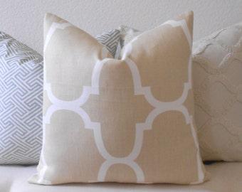 Designer pillow cover, Windsor Smith for Kravet, Dune Riad, tan trellis