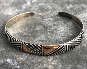 Sterling and copper cuff bracelet
