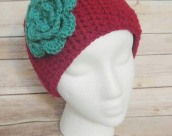 Ear warmers - Headband - Headwrap - Crochet - Cozy - with Button Closure and Flower - Teen/Adult Sized- Handmade- FREE SHIPPING