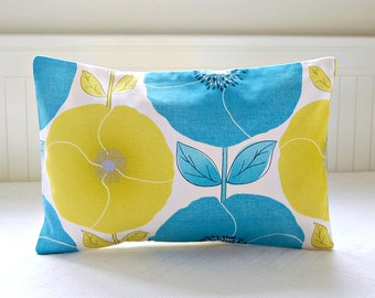 REDUCED TO CLEAR blue yellow decorative pillow cover,  poppies and leaves lumbar cushion cover 12 x 18 inch