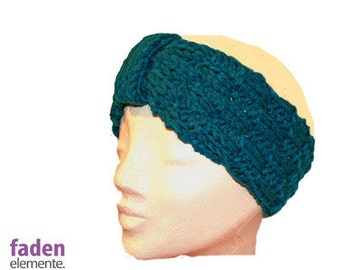 knitted headband, petrol turban
