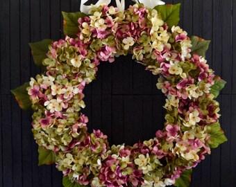 """Pink Blended Hydrangea Spring and Summer Front Door Wreath - 22"""" Diameter"""
