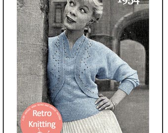 1950s Beaded Bolero Twinset Knitting Pattern - PDF Instant Download