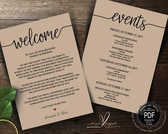 Wedding Welcome and Itinerary card, editable PDF template, Timeline card, Wedding weekend, welcome bag or  box, rustic theme (TED410_13)