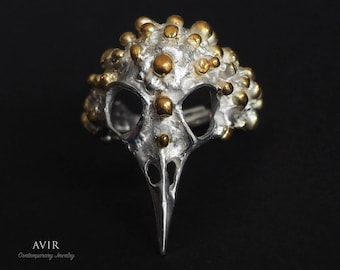Corvus Raven Ring bi-material in sterling Silver and Gold 24 k plated / / gift for her / / gift for him.