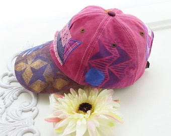 Hand painted baseball cap, artsy hat, cotton, visor, OOAK, hiking, beach, wearable art hat, sport hat, upcycled, womens, streetwear, pink