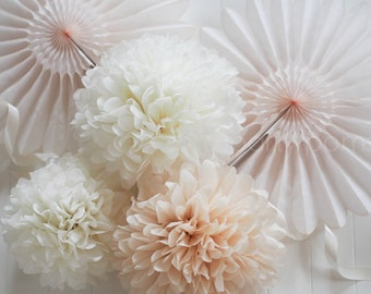 15 Tissue Pom Poms .. Weddings / Bridal Shower / Baby Shower / Baptism .. CUSTOM Colors
