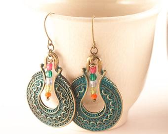 Gipsy Boho Earrings, Patina Bohemian Earrings, Arabic Earrings, Verdigris Earrings, Coin Earrings, Gift For Woman, Boho, Tribal Earrings,
