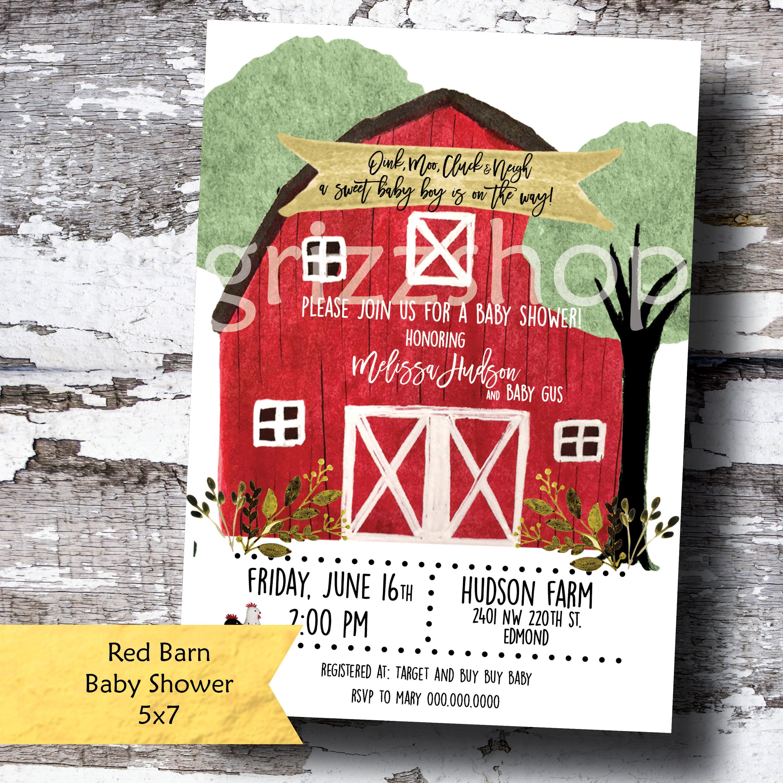 Red Barn Baby Shower Invitation