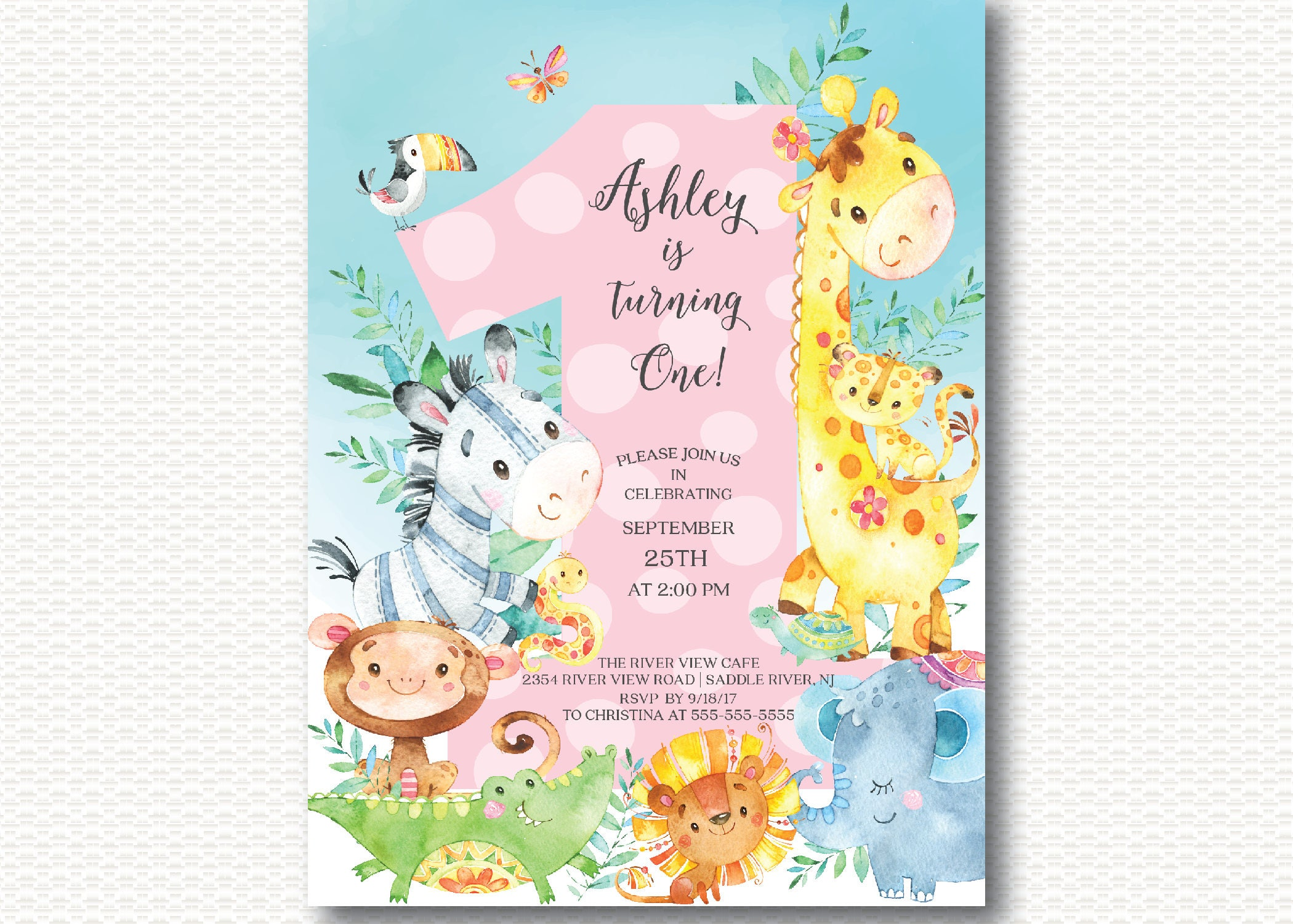 Jungle First Birthday Invitation Safari Girl 1st Birthday