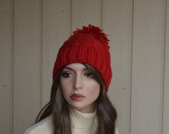 Pom Pom Knit Hat  Ear Warmer Christmas Red Hand Knit Hat Winter Hat Fashion Hat Women Hat