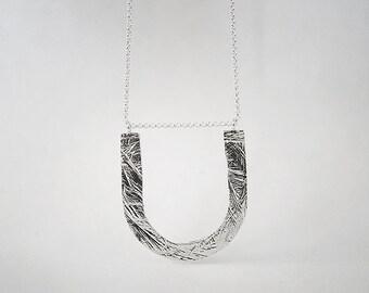 U necklace - sterling silver or bronze