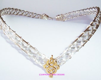 Gold & Silver Celtic Knot Circlet Crown, adjustable for men and women larp ren sca