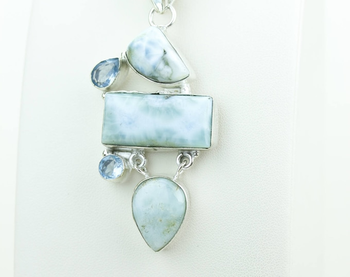 Swiss Blue Topaz Larimar 925 S0LID Sterling Silver Pendant + 4MM Snake Chain & Worldwide Shipping P4064