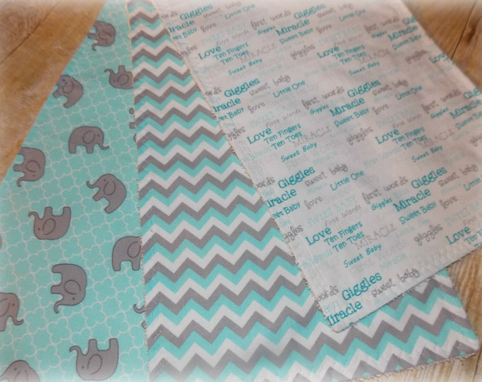Burp cloth set -  Elephant print  -   Aqua and grey burp cloths -  unisex burp cloths - baby gift - baby shower gift - Burp cloth set - burp