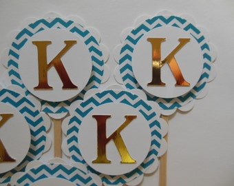 Letter K Cupcake Toppers - Gold and Teal Chevron - Birthday Party Decorations - Set of 6