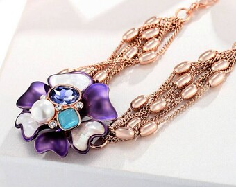 Beautiful link chain bracelet with opal, crystal, pearl - price reduced
