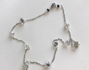 WHITE GOLD Herkimer Diamond Station Necklace