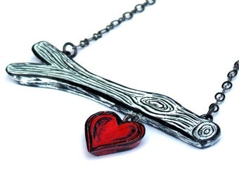 Black and White Tree Branch Necklace, Red Heart Charm, Valentine's Day Jewelry, Gift for Girlfriend, Anniversary Gift, Teen Girl Gift