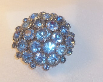 Vintage Light Blue Rhinestone Brooch or Pin Estate Jewelry Costume Pin Brooch