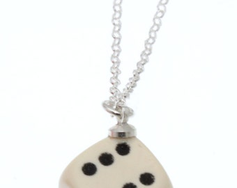White D6 Dice Pendant on Sterling Silver Chain