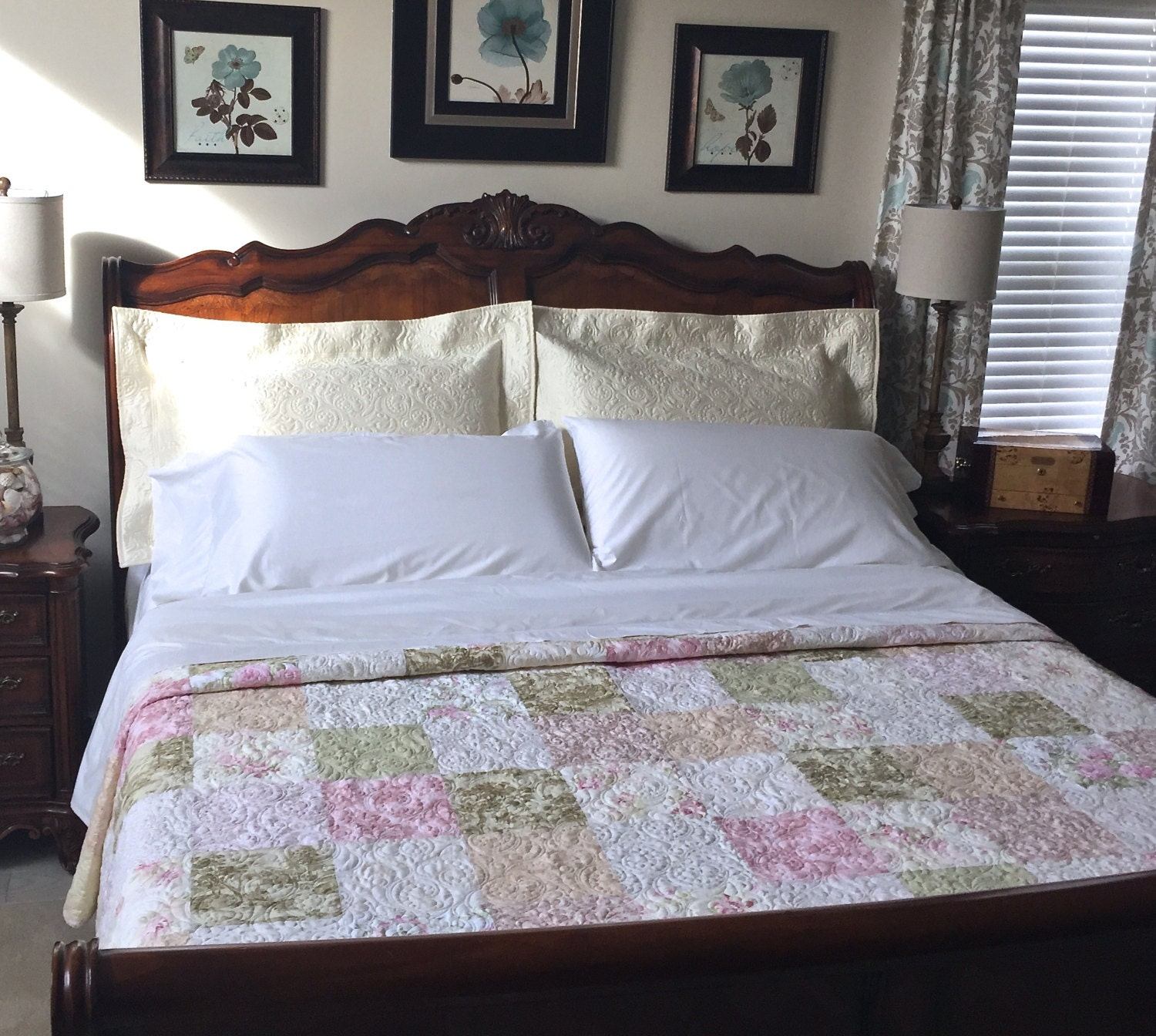 Awesome Queen Size Patchwork Quilt With Floral Prints Custom Quilt Heirloom Queen  Size Bed Quilt