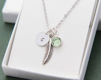Personalized Necklace, Initial Necklace, Feather Necklace, Feather Jewelry, Birthstone Necklace for Her, Initial Jewelry, Christmas Gift