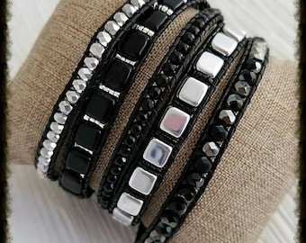 Black and silver 5x beaded leather wrap cuff button bracelet *Silver Aspen Studio Designs by Angela McDonald*