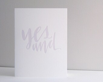 Yes And Letterpress Card | Howl Paper Studio