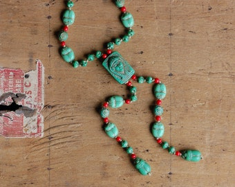 Antique 1920s Czech glass Egyptian Revival Pharaoh and scarab sautoir necklace