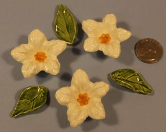 3 Mosaic White Morning Glory Flower Tiles and 3 Leaves, Ceramic Mosaic Pieces, Item # E-1253, Ceramic Mosaic Flower