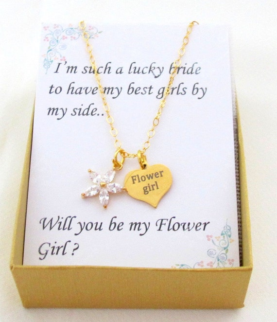Cubic Zirconia Flower girl Pendant Necklace, Asking Flower girl Gift, Will you be my Flower girl, CZ Flower Gold Necklace, Free Shipping USA