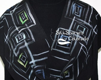 Black Silver Hand Painted Silk Scarf Handmade Silk Shawl NIGHT JAZZ, in 2 SIZES. Silk Scarves Colorado. Birthday Gift, Christmas Gift