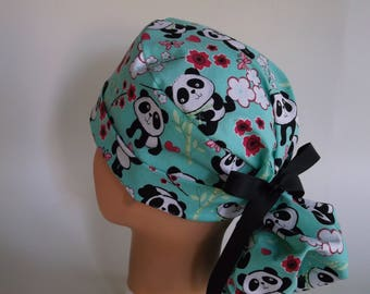 Panda Bears Ponytail - Womens lined surgical scrub cap, scrub hat, Nurse surgical hat, 76-5550 W
