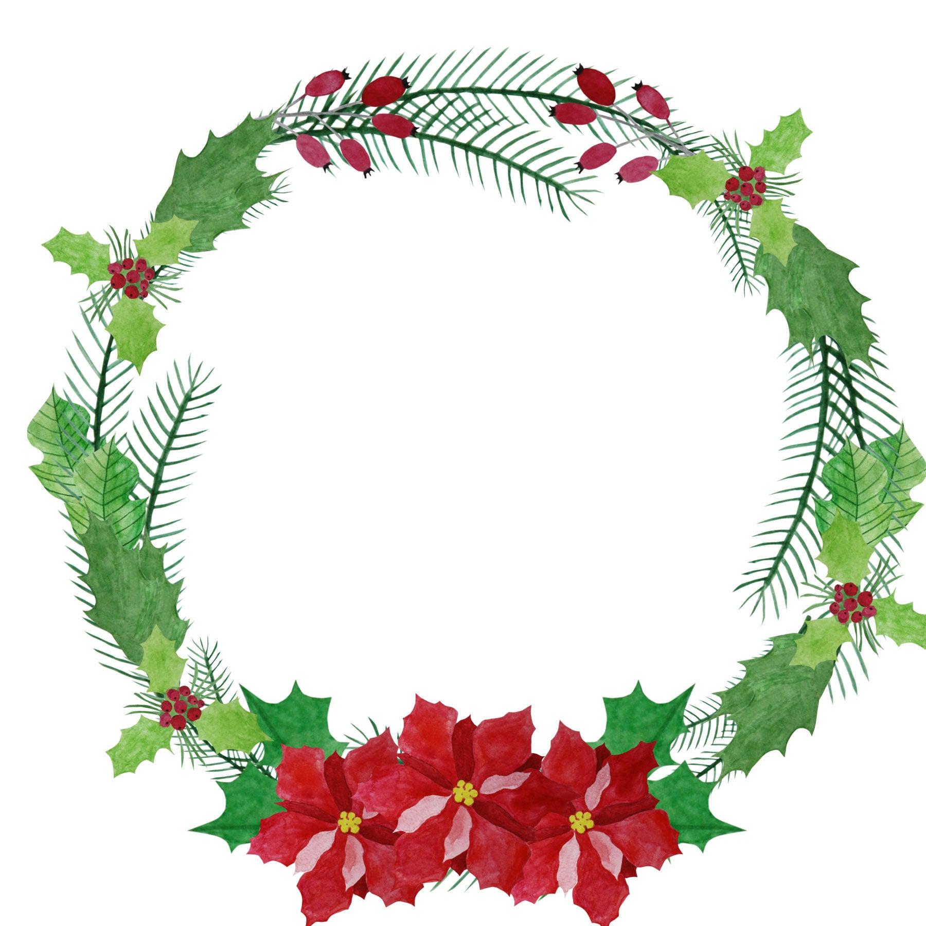 watercolor wreath clipart poinsettia wreath christmas wreath rh etsystudio com wreath clip art invisible inside wreath clipart free