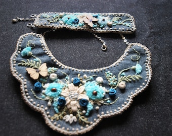 unique handmade set of jewelry, magic garden rhapsody in blue, Necklace and bracelet
