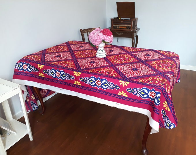 Pink floral tablecloth. Arabesque and lotus flowers. For dress table anniversary young woman. Ideal to energize shabby chic home.