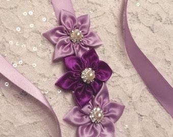 Headband, Satin Headband, Purple Headband Sash, Rhinestone Headband, Flower Girl, Bridesmaid,  Bridal Headband, Wedding Headband