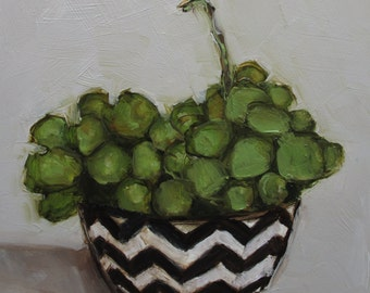 GRAPES IN BOWL Abstract Food Still Life Culinary Fruit Vegetable Art Giclee print from my original oil painting
