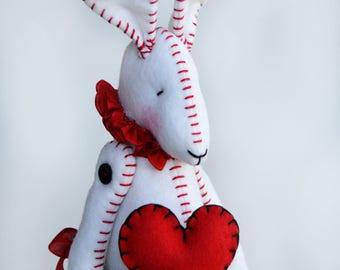 Valentines Bunny - Valentines Art Doll - Valentines Gift - Bunny Lover