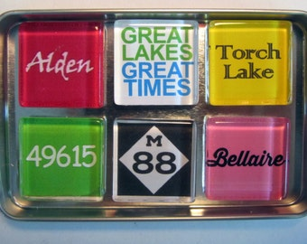 TORCH LAKE Magnets, Charlevoix, Alden, Bellaire, Up North, Michigan Magnets Set, Northwest Michigan Souvenir, Torch Lake, Traverse City