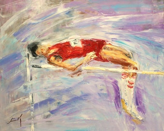 High Jump- oil painting by Luke Karcz.
