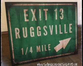 Ruggsville Exit 13 sign print from House of 1000 corpses / devils rejects
