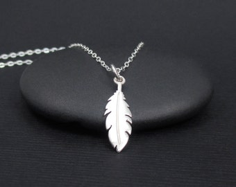 Feather Necklace Sterling Silver Tiny Feather Necklace, Dainty Feather Necklace, Small Feather Necklace, Feather Jewelry