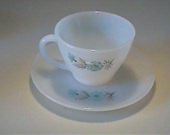 Vintage 1960's Fire King Bonnie Blue cup & saucer set