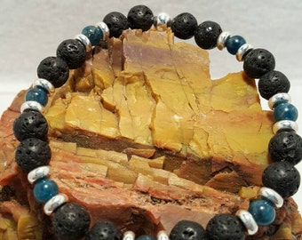 Lava and Apatite stretch bracelet
