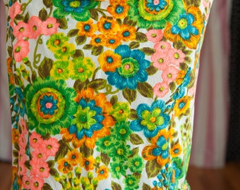Vintage Gown - Maxi Evening 60s 70s Mod Neon Floral