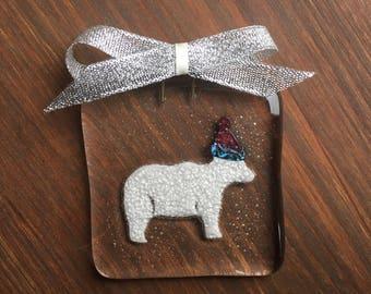 Polar bear decoration-christmas decoration-christmas tree-unique decoration-fused glass christmas-glass tree decoration-teacher gift-secret