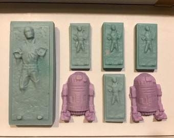 Hand Poured Soap -  Watermelon scented Han Solo in Carbonite and R2-D2 pack