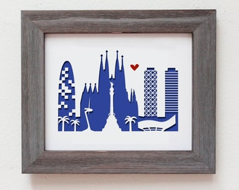 Barcelona Spain - Personalized Gift or Wedding Gift